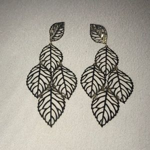 Gold Colored Leaf Tiered Earrings
